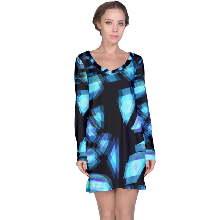 Blue light Long Sleeve Nightdress