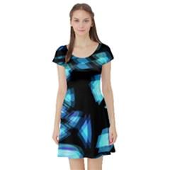 Blue light Short Sleeve Skater Dress