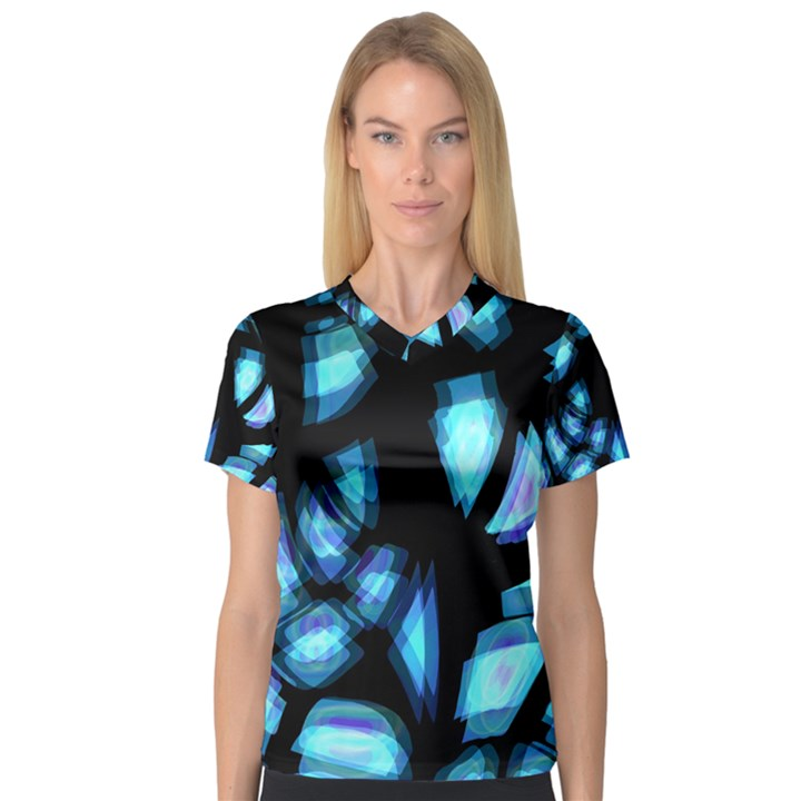 Blue light Women s V-Neck Sport Mesh Tee
