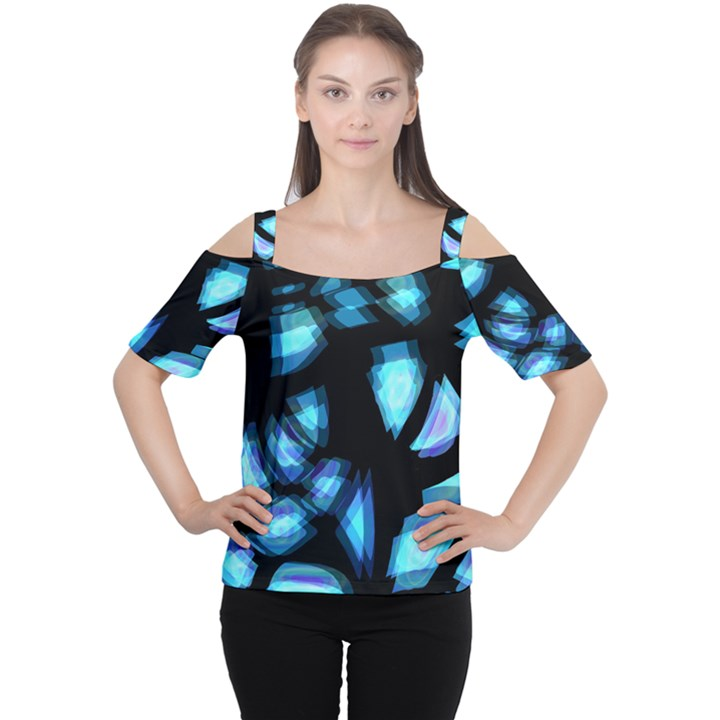 Blue light Women s Cutout Shoulder Tee