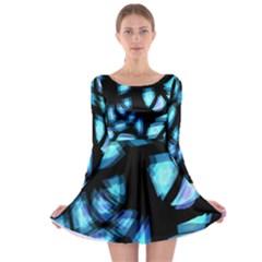 Blue Light Long Sleeve Skater Dress