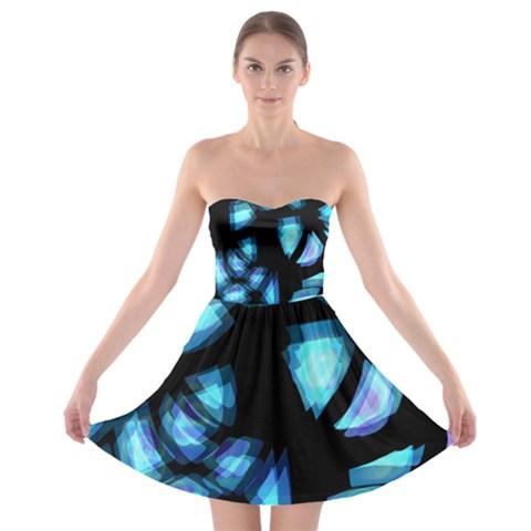 Blue light Strapless Bra Top Dress
