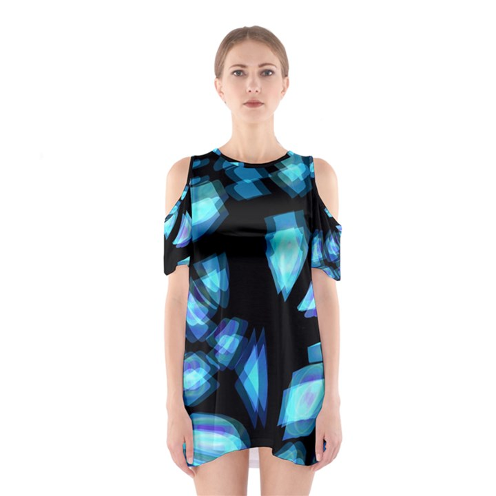 Blue light Cutout Shoulder Dress