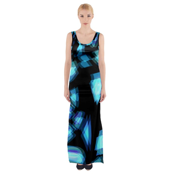 Blue light Maxi Thigh Split Dress