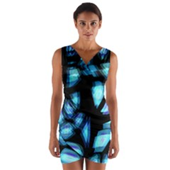 Blue light Wrap Front Bodycon Dress
