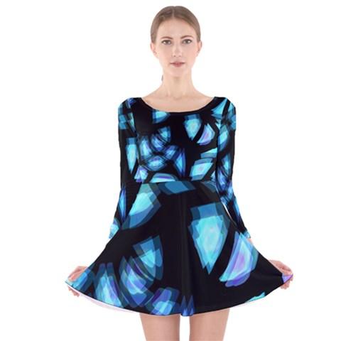 Blue light Long Sleeve Velvet Skater Dress