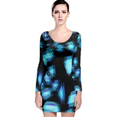 Blue light Long Sleeve Velvet Bodycon Dress
