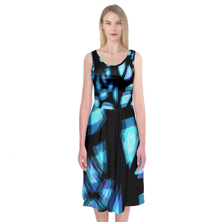 Blue light Midi Sleeveless Dress