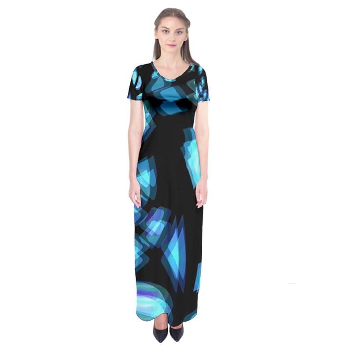 Blue light Short Sleeve Maxi Dress