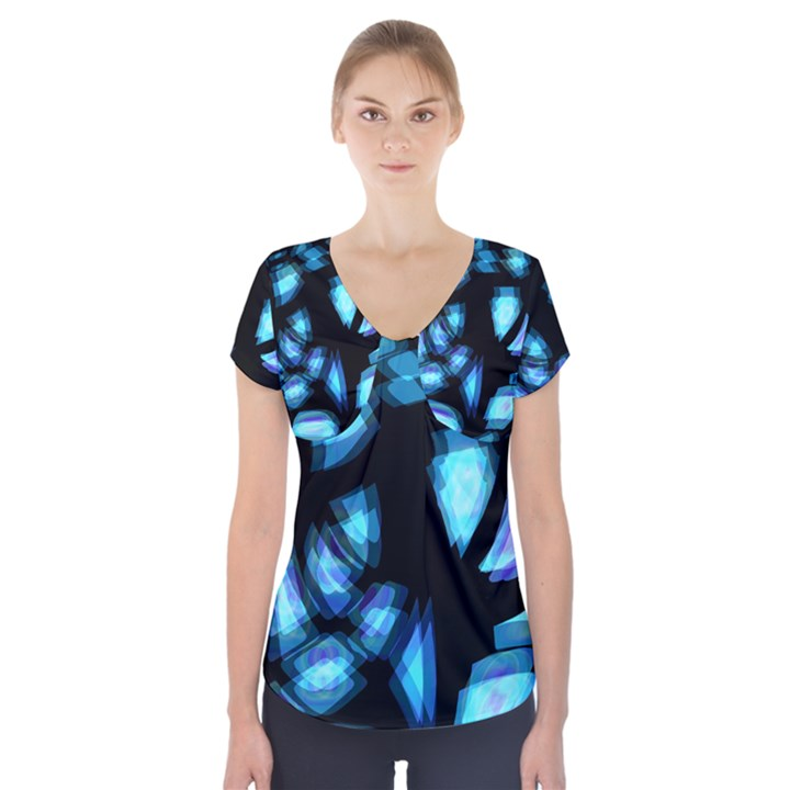 Blue light Short Sleeve Front Detail Top