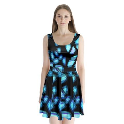 Blue light Split Back Mini Dress