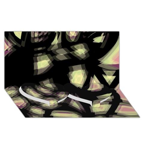 Follow the light Twin Heart Bottom 3D Greeting Card (8x4)