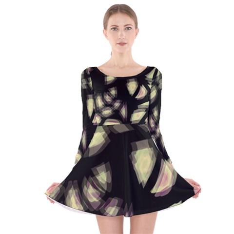 Follow the light Long Sleeve Velvet Skater Dress