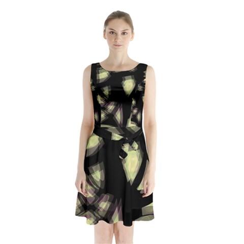 Follow the light Sleeveless Chiffon Waist Tie Dress