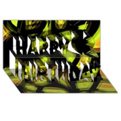 Yellow light Happy Birthday 3D Greeting Card (8x4)
