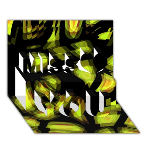 Yellow light Miss You 3D Greeting Card (7x5)
