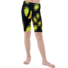 Yellow Light Kids  Mid Length Swim Shorts