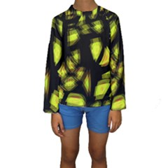 Yellow light Kids  Long Sleeve Swimwear