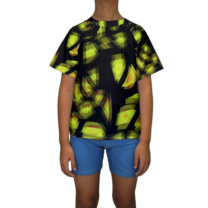 Yellow light Kids  Short Sleeve Swimwear