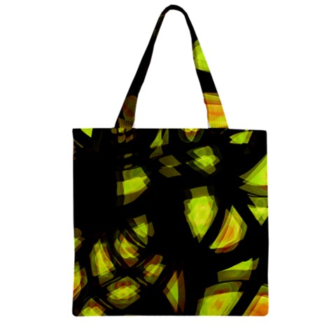 Yellow light Zipper Grocery Tote Bag