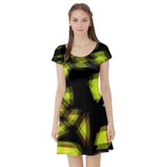 Yellow light Short Sleeve Skater Dress