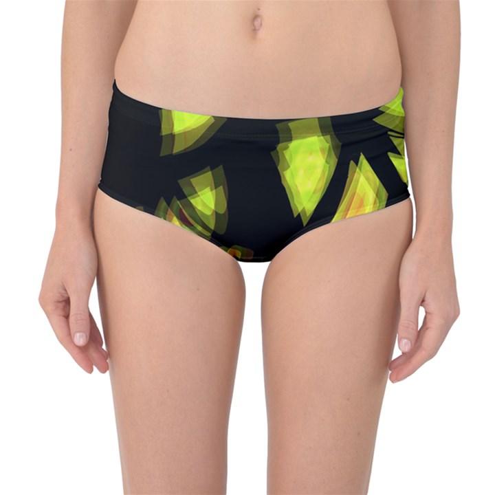 Yellow light Mid-Waist Bikini Bottoms