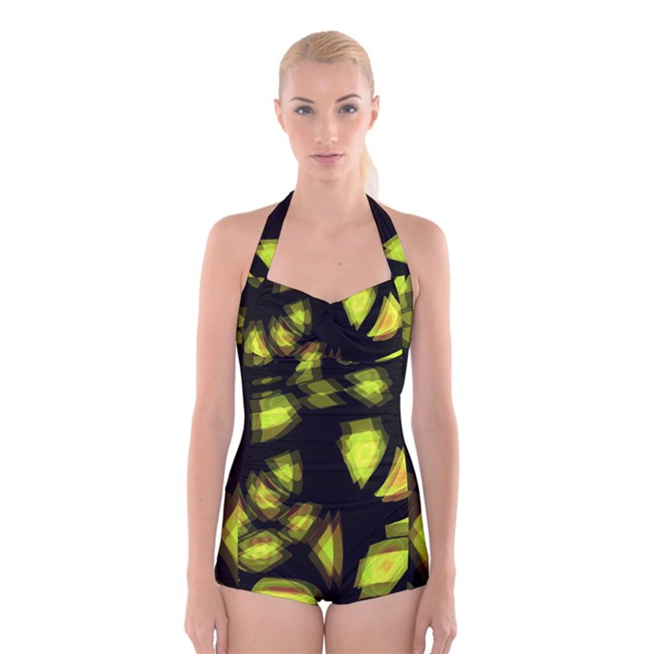 Yellow light Boyleg Halter Swimsuit