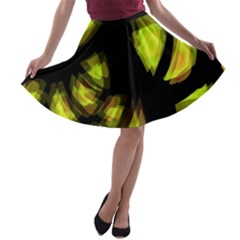 Yellow Light A Line Skater Skirt