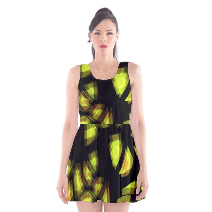 Yellow light Scoop Neck Skater Dress