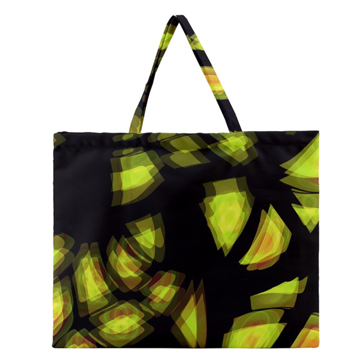 Yellow light Zipper Large Tote Bag