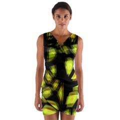 Yellow light Wrap Front Bodycon Dress