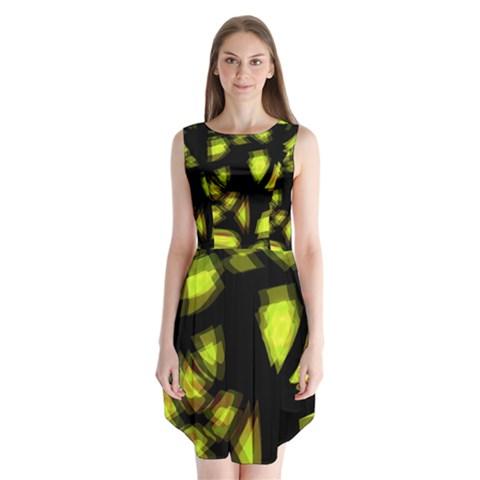 Yellow light Sleeveless Chiffon Dress