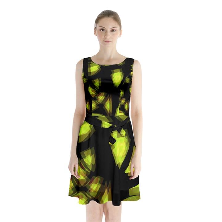 Yellow light Sleeveless Chiffon Waist Tie Dress