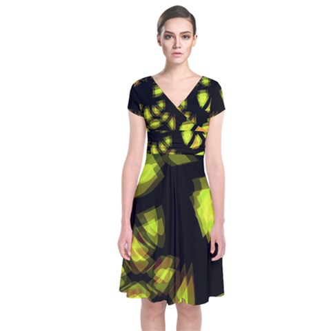 Yellow light Short Sleeve Front Wrap Dress