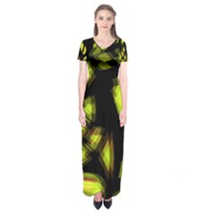 Yellow light Short Sleeve Maxi Dress