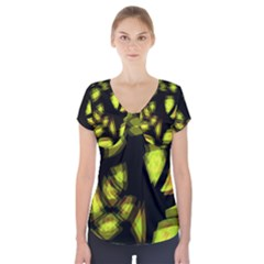 Yellow light Short Sleeve Front Detail Top
