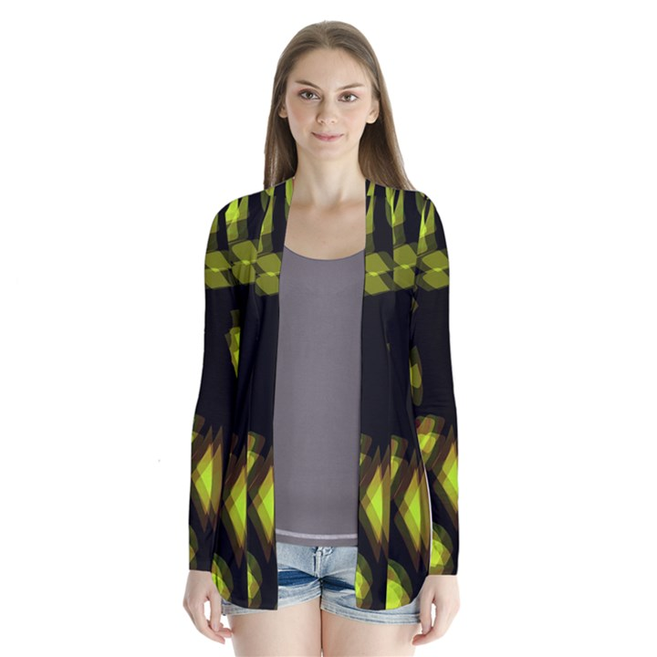 Yellow light Drape Collar Cardigan