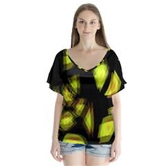 Yellow Light Flutter Sleeve Top