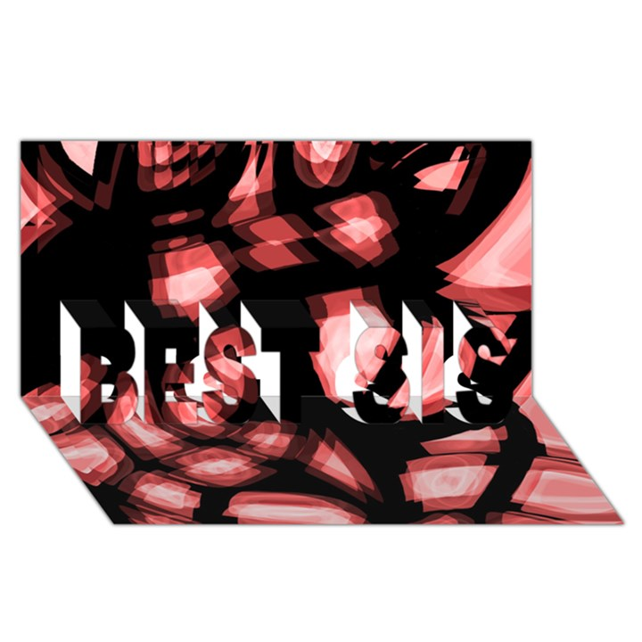 Red light BEST SIS 3D Greeting Card (8x4)