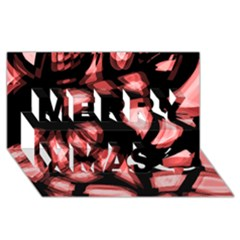 Red light Merry Xmas 3D Greeting Card (8x4)