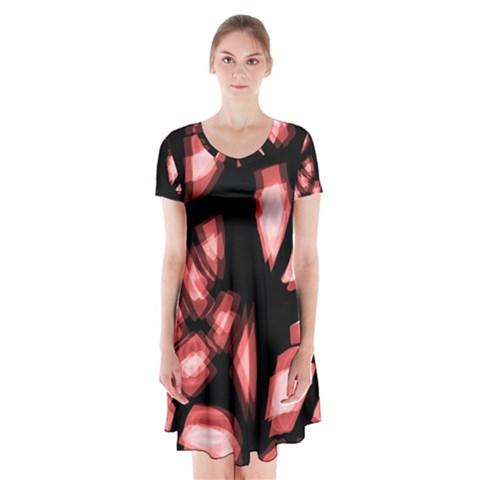 Red light Short Sleeve V-neck Flare Dress