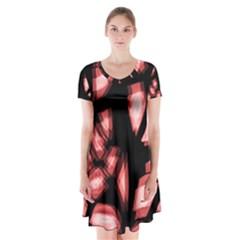 Red Light Short Sleeve V Neck Flare Dress