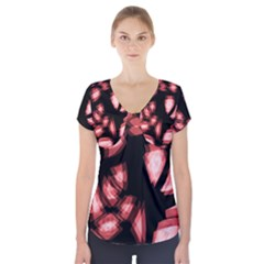 Red light Short Sleeve Front Detail Top
