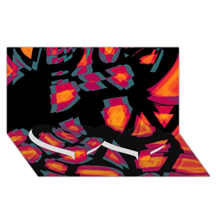 Hot, hot, hot Twin Heart Bottom 3D Greeting Card (8x4)