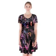Put Some Colors    Short Sleeve V Neck Flare Dress