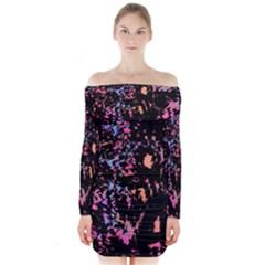 Put Some Colors    Long Sleeve Off Shoulder Dress