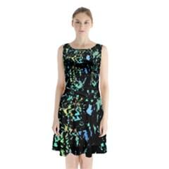 Colorful Magic Sleeveless Chiffon Waist Tie Dress