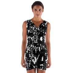 Black and white miracle Wrap Front Bodycon Dress