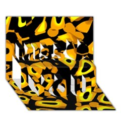 Yellow design Miss You 3D Greeting Card (7x5)