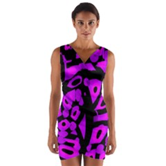 Purple design Wrap Front Bodycon Dress